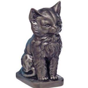 Cat metal urn