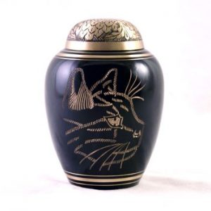 b;ack gold etched cat urn