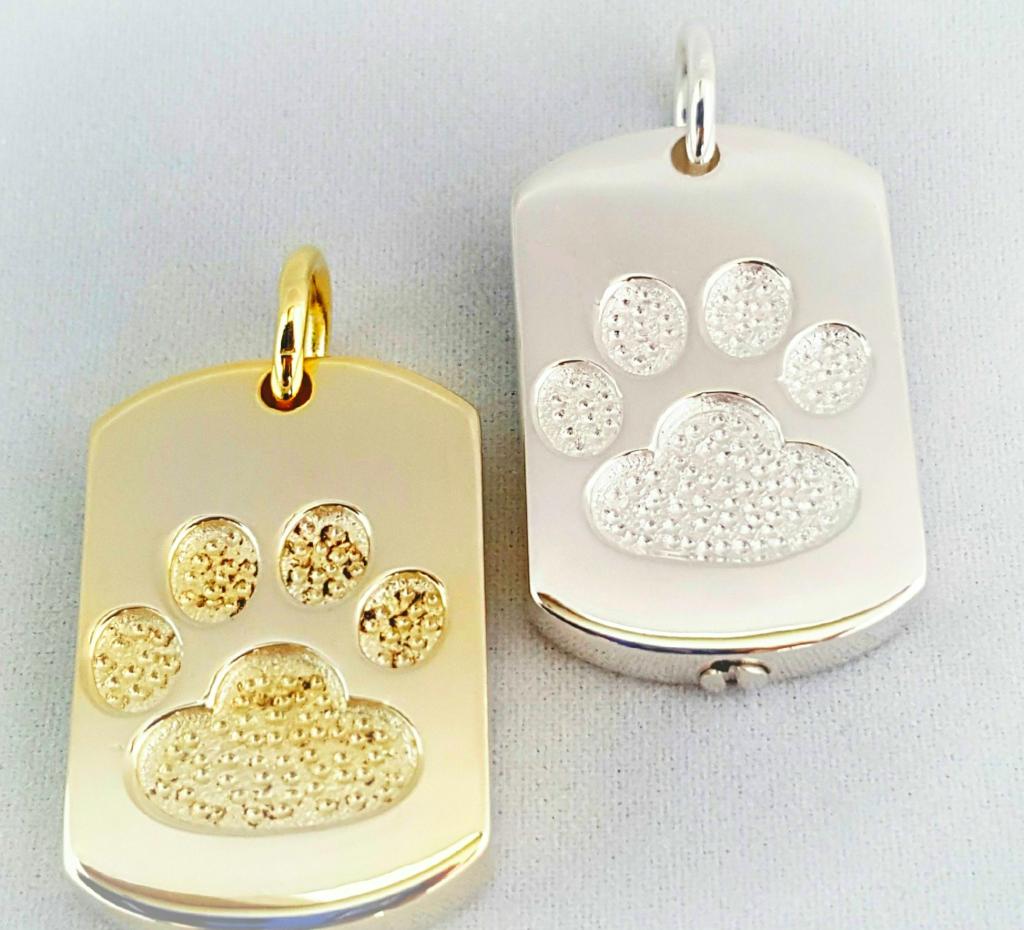 Paw Print Dog Tag w/cremains