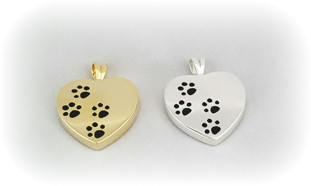 Paw Prints on Heart w/cremains